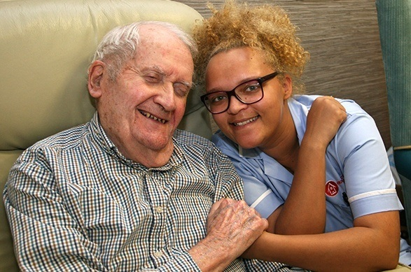 Resident & Carer at Norwood Grange dementia care home